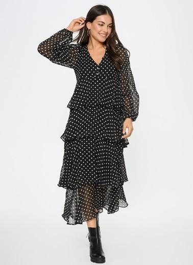 Loves You Katlı Puantiyeli Şifon Elbise Siyah